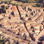 Aerial view of the walled town of Mondolfo