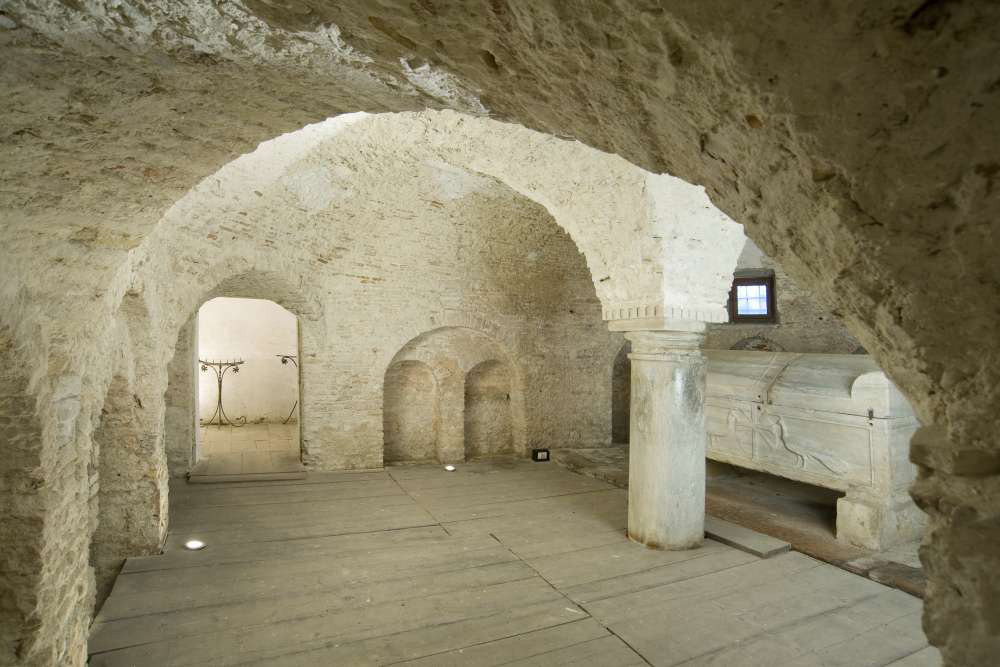 Crypt of the abbey with the sarcophagus